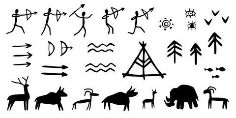 Fototapeta Vector set of rock paintings of prehistoric humans, animals, weapons. Cave drawings of different symbols, isolated on white background