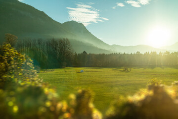 Wall Mural - Perfect sunny day with natural countryside landscape in Austria.