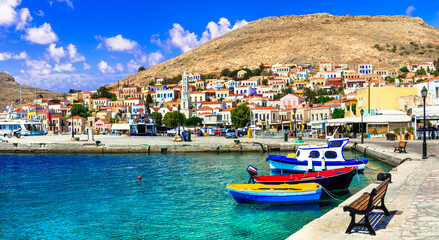 Greece travel. Dodecanese small island Chalki, colorful harbour