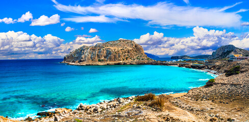 Beautiful sea landscape and wild beaches of Karpathos island. Greece