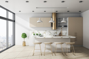 Fotomurales - Bright modern kitchen interior with furniture and city view.