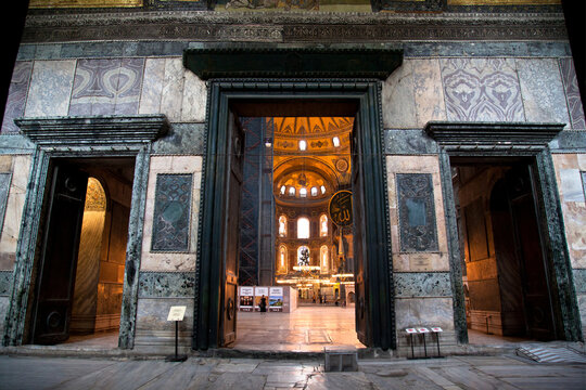 Hagia Sophia is a museum, historical basilica and mosque in Istanbul. It was built by the Byzantine Emperor Justinianus, for 532-537 in Istanbul. Photo shooting date 14 june 2020