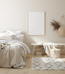 Mock up frame in bedroom interior background, beige room with natural wooden furniture, 3d render