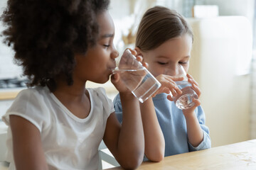 Two multi racial little girls sit at table in kitchen feels thirsty drink clean still natural or mineral water close up image. Healthy life habit of kids, health benefit dehydration prevention concept