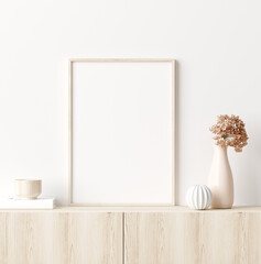 Papiers peints Echelle de hauteur Mock up frame in home interior background, white room with natural wooden furniture, Scandi-Boho style, 3d render