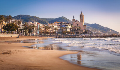 Sitges is a town near Barcelona in Catalunya, Spain. It is famous for its beaches and nightlife.