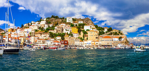 Beautiful Hydra island, Saronic gulf. Greece. popular tourist destination for summer holidays