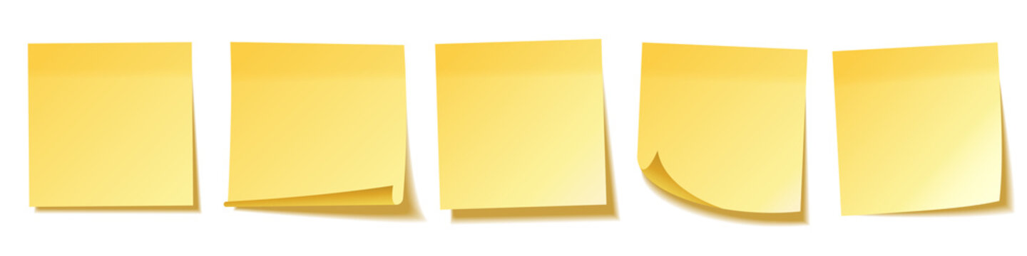 Realistic blank sticky notes isolated on white background. Yellow sheets of note papers. Paper reminder. Vector illustration.