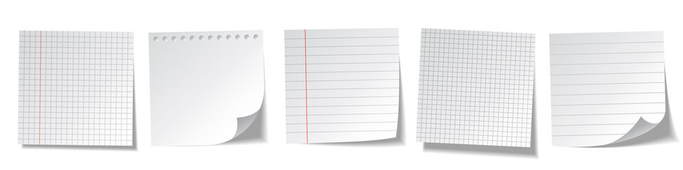 Realistic blank sticky notes isolated on white background. White sheets of note papers. Paper reminder. Vector illustration.