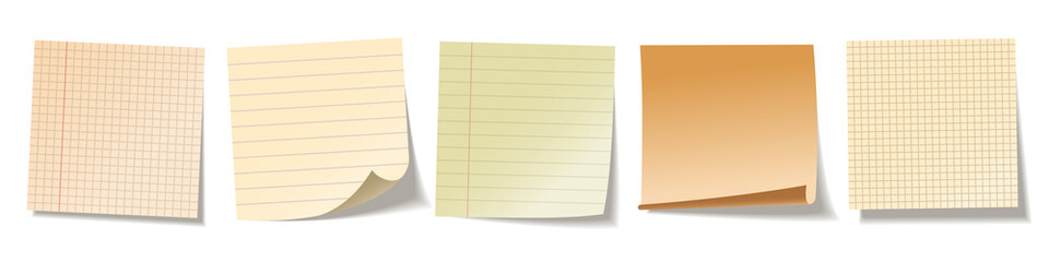 Realistic blank sticky notes isolated on white background. Colorful sheets of note papers. Paper reminder. Vector illustration.