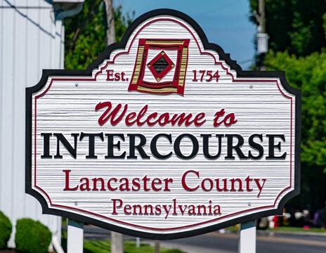 Welcome Sign for Intercourse Pennsylvania