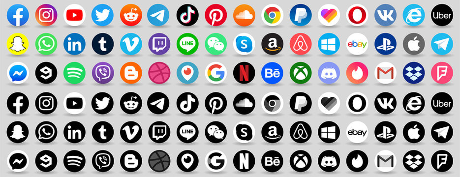 Facebook, twitter, instagram, youtube, reddit,telegram,snapchat, pinterest, tiktok ,uber, gmail, internet explorer, playstation, xbox, messenger logo. social media logo vector icon button