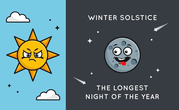 Winter solstice background with cute happy moon and jealous sun. Vector cartoon illustration of the longest night of the year.
