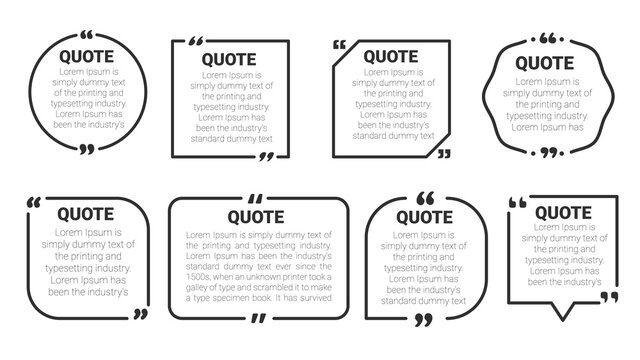 Quote box frame. Quote box and speech bubble templates set. isolate on white background.