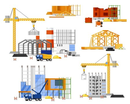 Construction site building set. Tower, truck crane building city, country house. Isolated steel, concrete, wooden structure frame with scaffolding. Construction engineering site, architecture industry