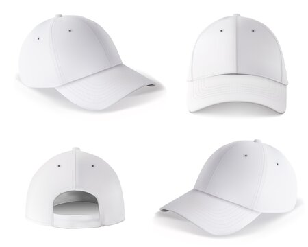 Baseball cap template. Blank white cap mockup front and back side design isolated on white background. Realistic vector sport snapback