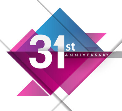 31st years anniversary logo with geometric, vector design birthday celebration isolated on white background.