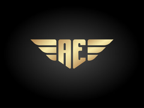 AE Letter Logo Shield with wings vector gold color on black background