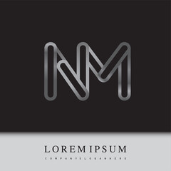 initial logo letter NM, linked outline silver colored, rounded logotype