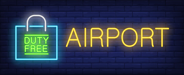 Airport neon sing. Glowing inscription with duty free paper packet on brick wall background. Can be used for airport, duty free zone, duty free shops