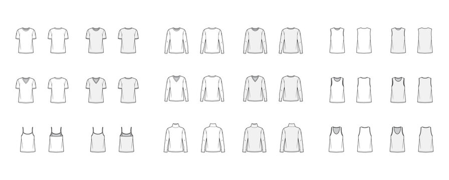 Set of 9 tops technical fashion illustration croqui front and back white and color style.