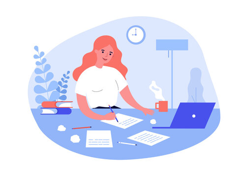Writing job concept. Female writer writing in papers at her workplace, working at computer at home. Flat vector illustration for creative crisis, journalism, inspiration topics