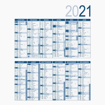 Calendrier annuel 2021. Format A4 recto/verso. Texte modifiable inclus dans fichier AI. Vacances scolaires, jours fériés, lunes,... Multi calques