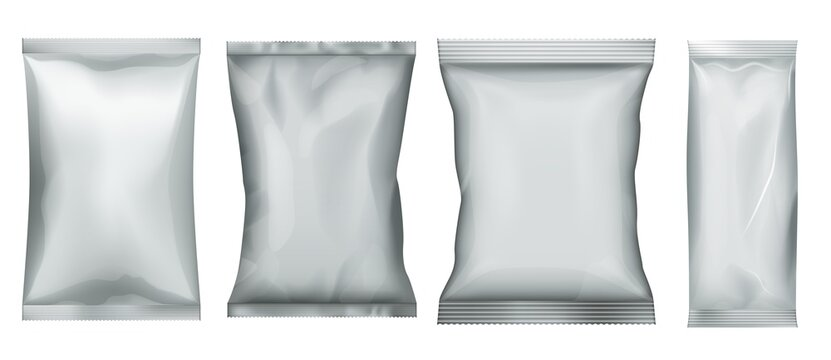 Snack food pack. Plastic bag and foil pouch set. Aluminum package for bulk food template. Candy sachet mockup