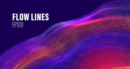 Flow lines liquid vector array. Wave flow lines. Motion line wave vector abstract background. Fotoväggar