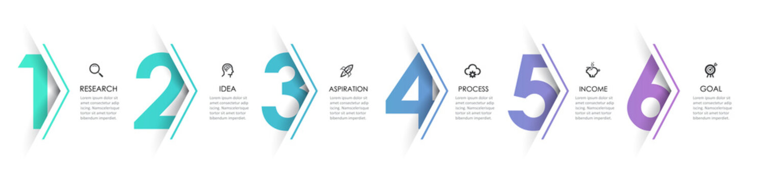 Vector Infographic arrow design with 6 options or steps. Infographics for business concept. Can be used for presentations banner, workflow layout, process diagram, flow chart, info graph
