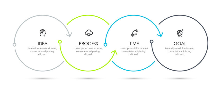 Vector Infographic thin line design with icons and 4 options or steps. Infographics for business concept.