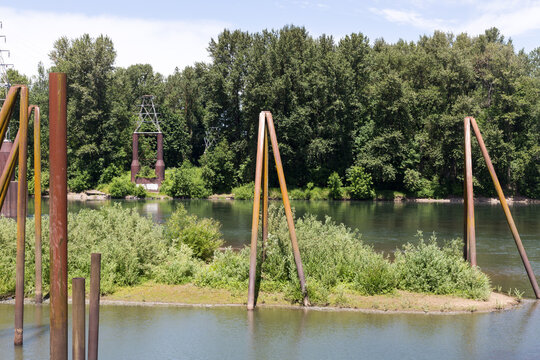 Willamette river in Albany, Oregon, in sunny summer day. View in Monteith Riverpark