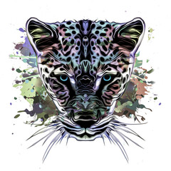 grunge background with graffiti and painted leopard