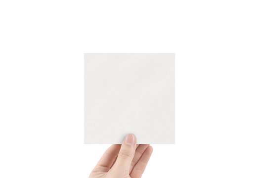 Square Textured Paper Mockup with Hand Stationery Sticker Greeting Card Mockup