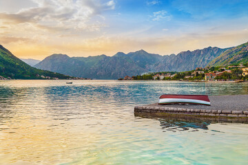 Bay of Kotor, Adriatic Sea, Montenegro. Famous tourist attraction with fishing boats, small piscatorial villages and mountains surroundings.