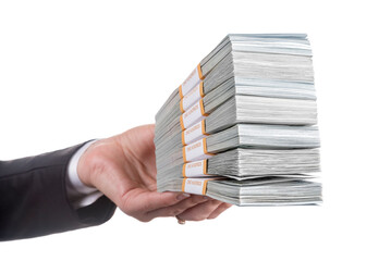 Business woman hand in black office suit with packages of dollar banknotes isolated on white background. Banking, winnings, profit, savings, loan or other financial concept