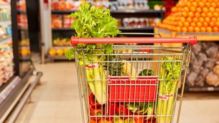 Einkaufswagen voll mit gesunden Lebensmitteln