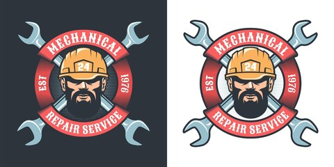 Mechanical repair service with beard man in helmet, wrench and ribbon - vintage logo. Industrial retro emblem. Vector illustration.