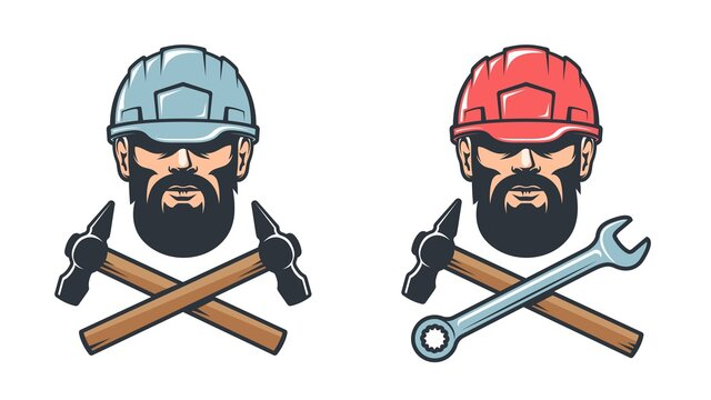 Mechanical workshop service retro logo - bearded man in hard hat with hammer and wrench. Worker in helmet - vintage emblem. Vector illustration.