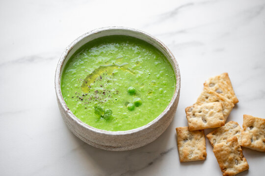 Plate of summer delicious traditional finnish pea soup.Creamy pea soup