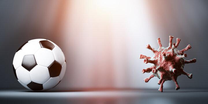 Soccer, football vs coronavirus COVID-19.