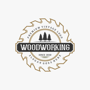 wood working vintage logo design with blade and luxury badge element.