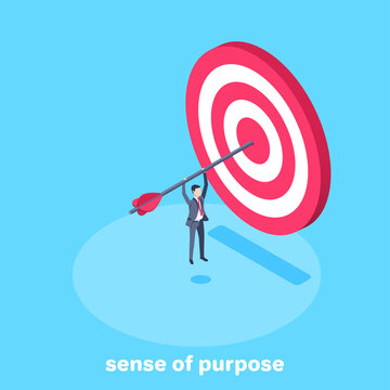isometric vector image on a blue background, a man in a business suit hanging on an arrow that sticks out of the target, sense of purpose