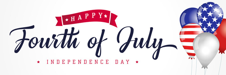 Happy Fourth of July, Independence Day USA calligraphy banner with flag in balloons. United States of America 4th of July text on colored balloons, sale vector Illustration