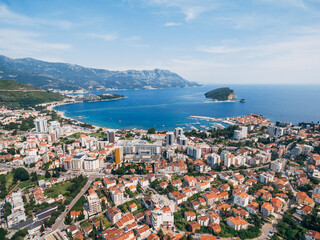 The modern city of Budva, from a bird's-eye view, aerial photo from a drone.  Wall mural