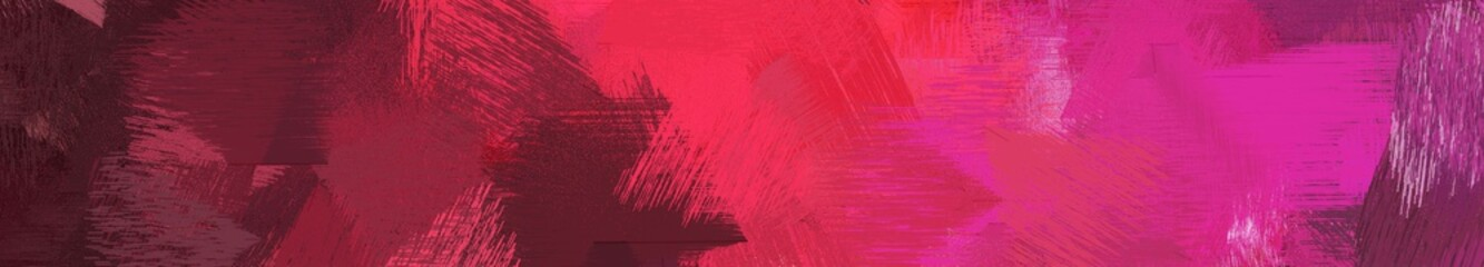 Spoed Foto op Canvas Roze wide landscape graphic with artistic brush strokes background with dark moderate pink, moderate pink and very dark magenta. can be used for wallpaper, cards, poster or banner