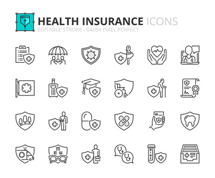 Simple set of outline icons about health insurance