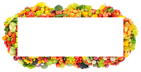 Wall Mural - Paronama frame of fruits, vegetables, berries isolated on white