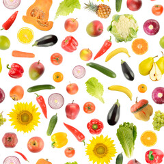 Wall Mural - Large square set of vegetables and fruits isolated on white background.