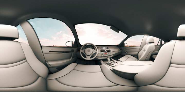 3d illustration Full spherical 360 vr degrees, a seamless panorama in the interior of prestige modern car (3D rendering)